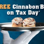cinnabon tax day freebies