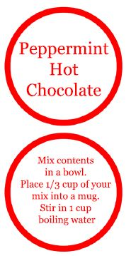 Peppermint Hot Chocolate Gifts in a Jar Labels
