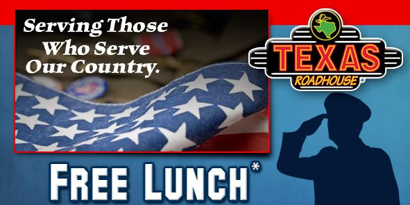 Texas Roadhouse free lunch Veterans Day