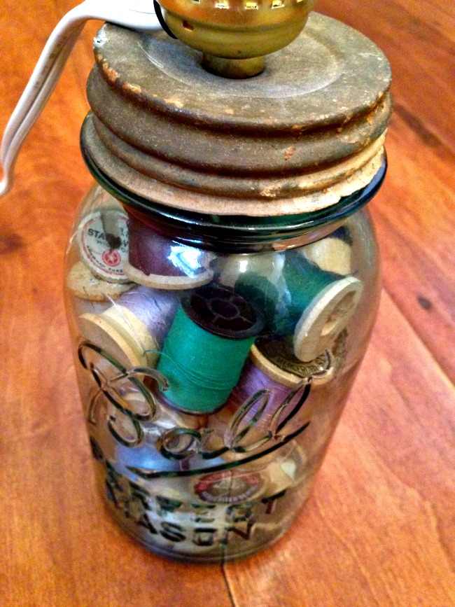 Diy Mason Jar Lamp With Lamp Kit Filled With Old Buttons