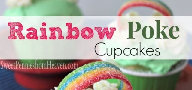 Rainbow Poke Cupcakes Perfect for St. Patrick's Day