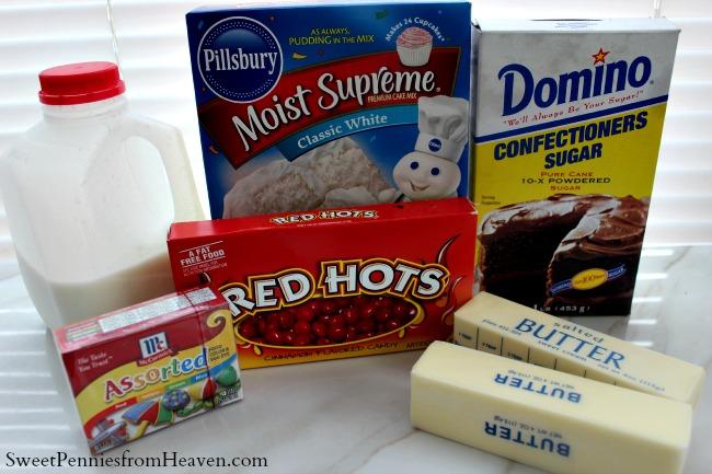 Valentine's Day Cupcakes ingredients