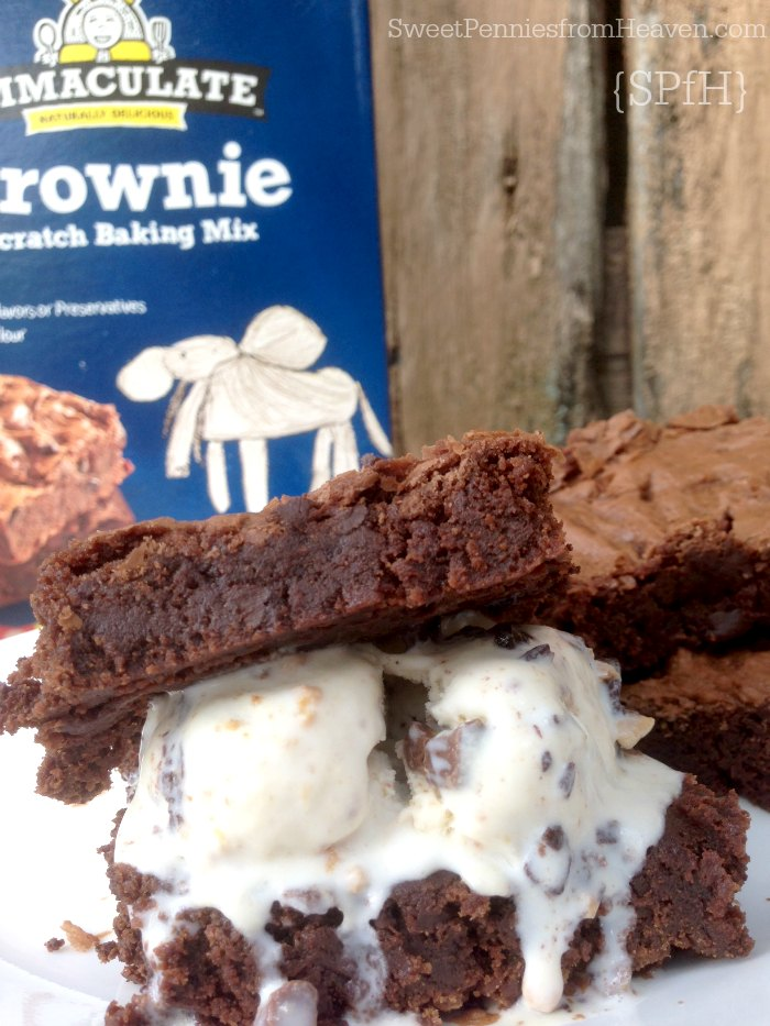 Ice Cream and Brownie Sandwiches with Immaculate Baking Brownie Mix