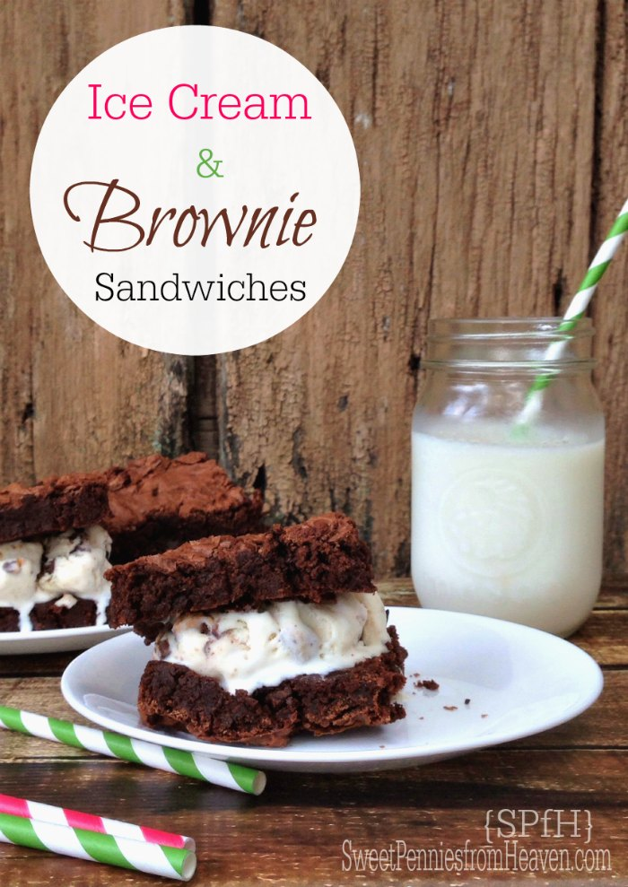 Ice cream and brownie sandwiches