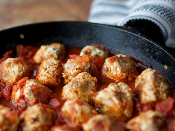 Turkey Bacon Meatballs in Tomato Sauce