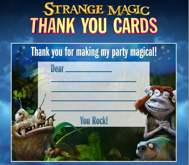 Strange Magic Party Thank you cards