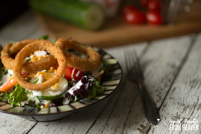 Crispy Onion Ring Topped Garden Salad
