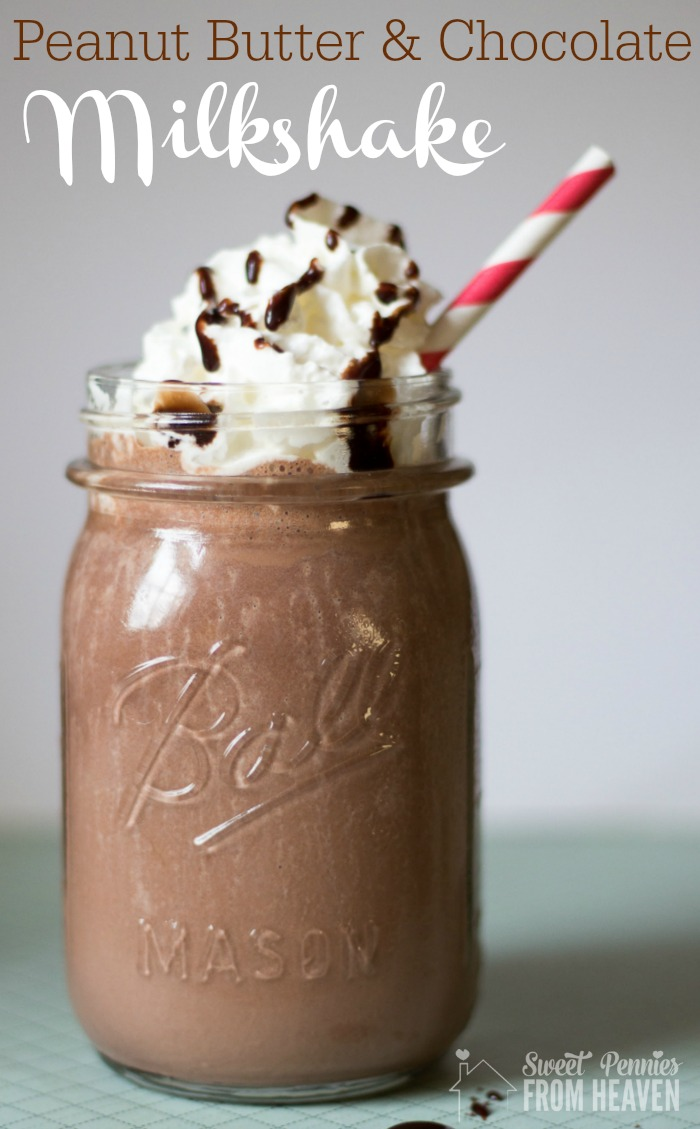 homemade peanut butter and chocolate milkshake