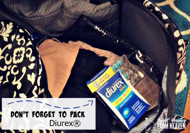Tips to avoid swollen feet while traveling, including packing Diurex!