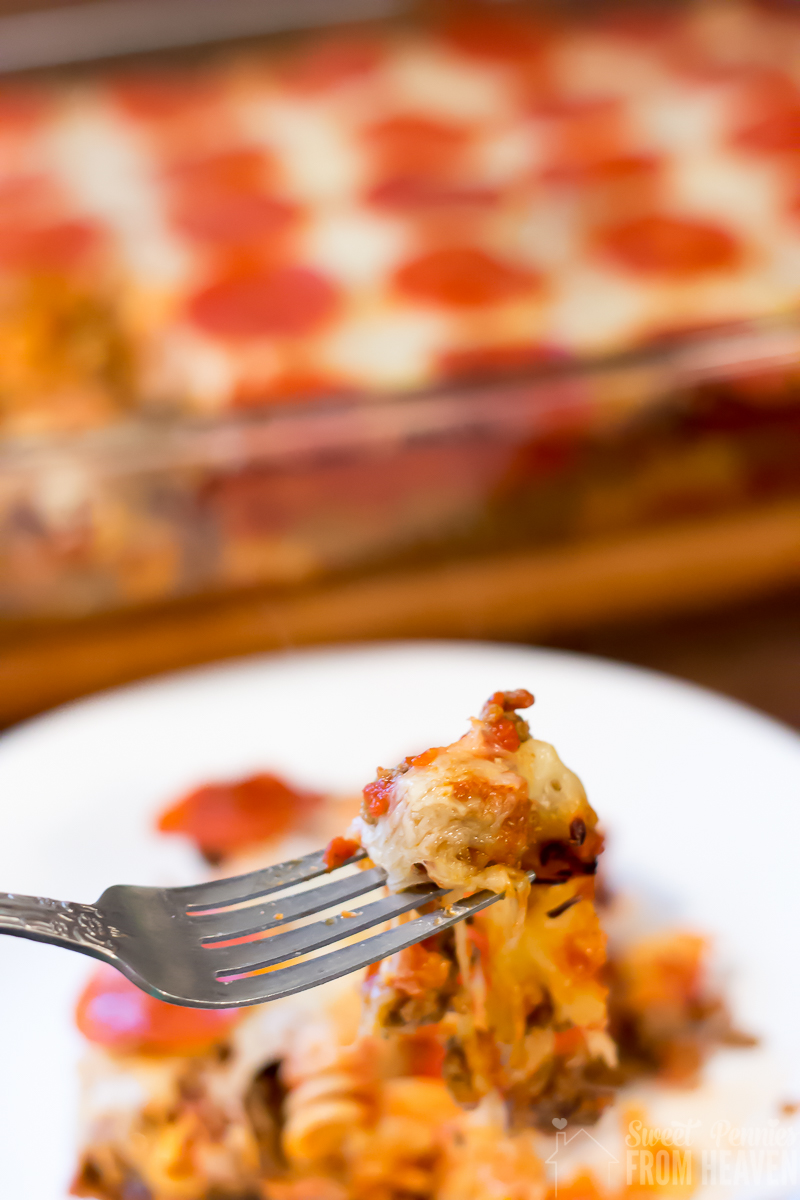 This Pepperoni and Pizza Casserole is so easy and delicious! It's a family favorite comfort food dish that combines two of your favorites, pizza and pasta!