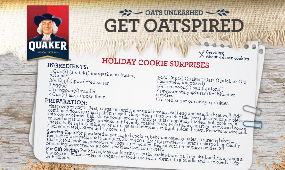 quaker holiday cookie surprises