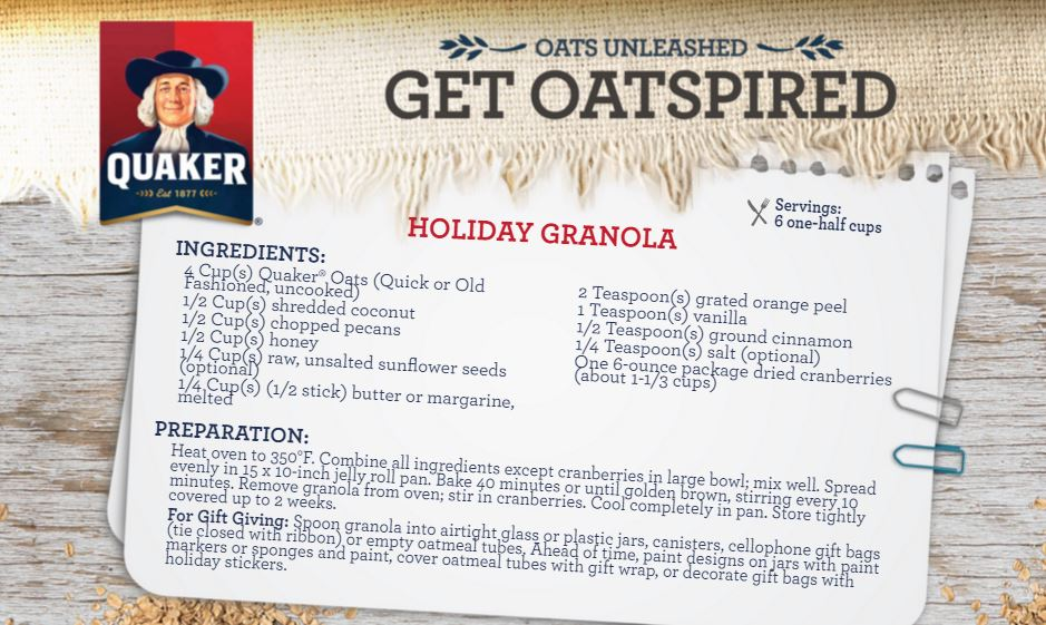 quaker holiday granola